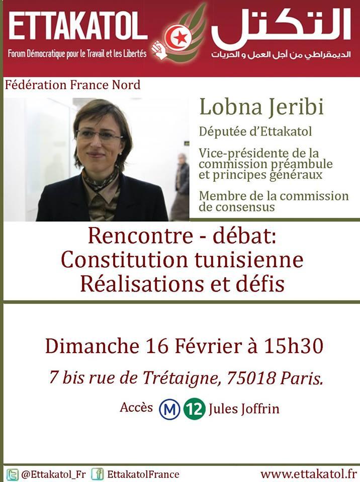 Rencontre - Débat avec Lobna Jeribi à Paris